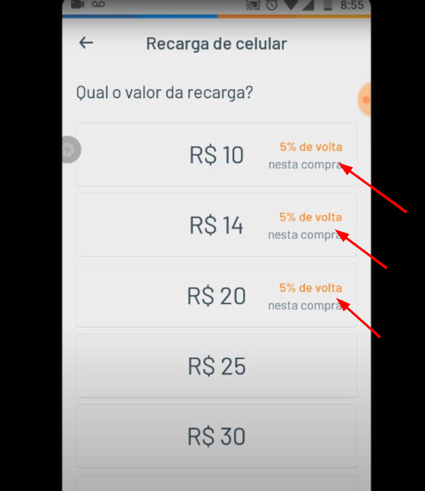 valores do recarga